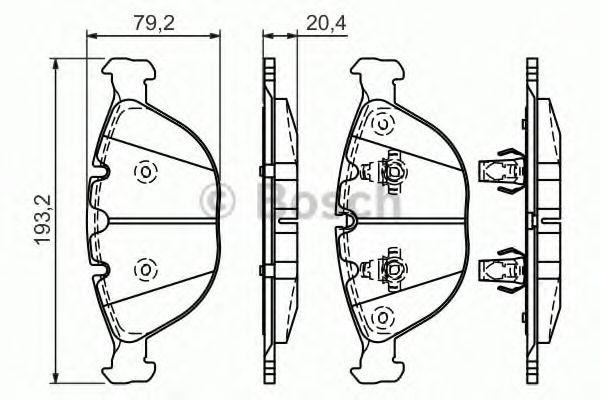 Комплект тормозных колодок, дисковый тормоз BOSCH арт. 0986494217