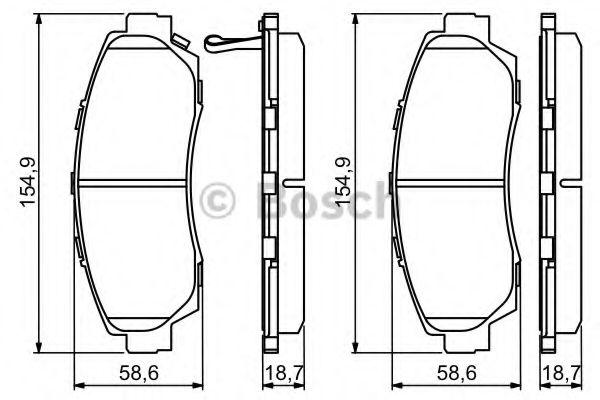 Комплект тормозных колодок, дисковый тормоз BOSCH арт. 0986494308