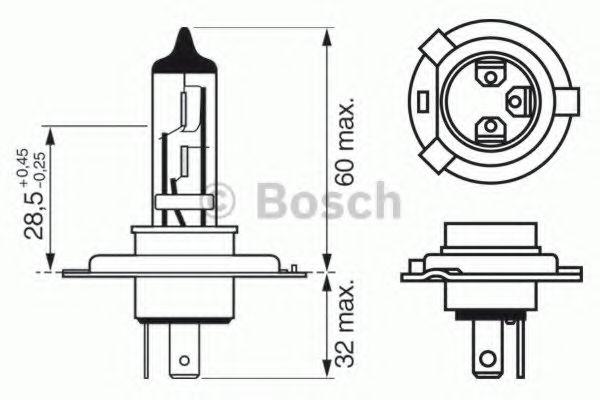 Лампа накаливания, фара дальнего света BOSCH арт. 1987302042