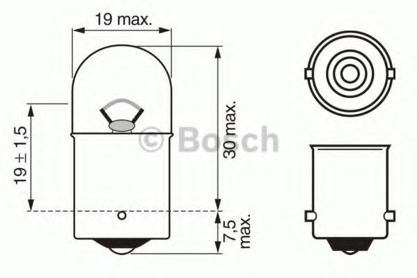 Лампа накаливания, фонарь указателя поворота BOSCH арт. 1987302204