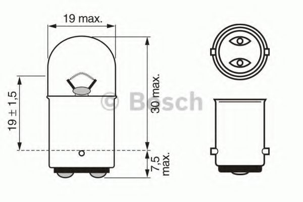 Лампа накаливания, фонарь сигнала тормож./ задний габ. огонь BOSCH арт. 1987302237