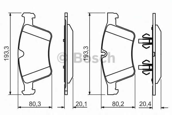 Комплект тормозных колодок, дисковый тормоз BOSCH арт. 0986494427