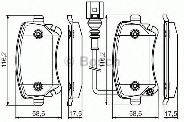 Комплект тормозных колодок, дисковый тормоз BOSCH арт. 0986495094