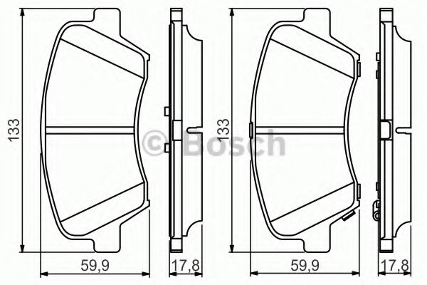 Комплект тормозных колодок, дисковый тормоз BOSCH арт. 0986495343