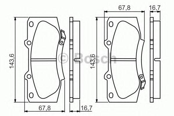 Комплект тормозных колодок, дисковый тормоз BOSCH арт. 0986495352