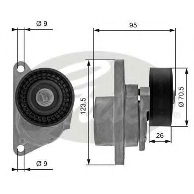 Натяжной ролик, поликлиновой  ремень GATES арт. T38190