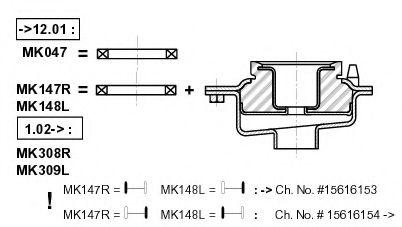 Подшипник качения, опора стойки амортизатора MONROE арт. MK047