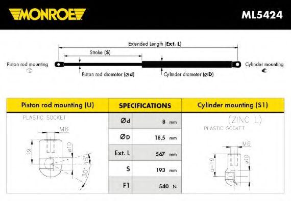 Амортизатор багажника Monroe ML5424