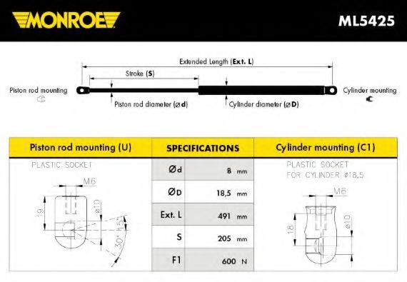 Амортизатор багажника Monroe ML5425
