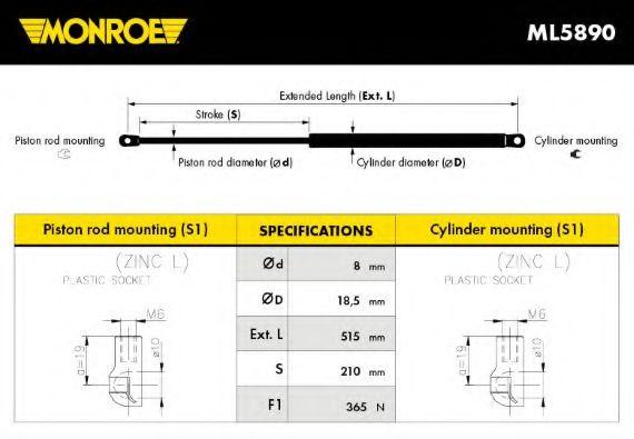 Амортизатор багажника Monroe ML5890