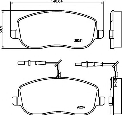 Комплект тормозных колодок, дисковый тормоз TEXTAR арт. 2026101