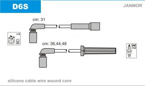 Комплект проводов зажигания JANMOR арт. D6S