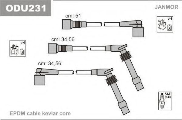 Комплект проводов зажигания JANMOR арт. ODU231