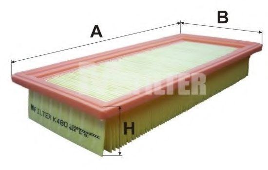 Фильтры прочие Воздушный фильтр MFILTER арт. K480