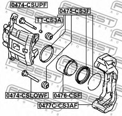 Комплект поддержки корпуса скобы тормоза FEBEST арт. 0477CCS3AF