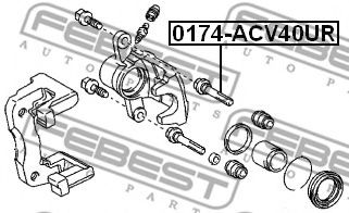Направляющий болт, корпус скобы тормоза FEBEST арт. 0174ACV40UR