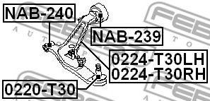 Несущий / направляющий шарнир FEBEST арт. 0220T30