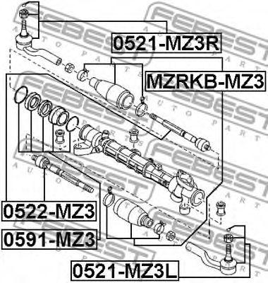 Наконечник поперечной рулевой тяги FEBEST арт. 0521MZ3L