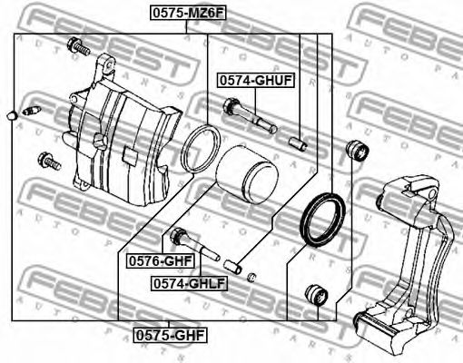 Ремкомплект, тормозной суппорт FEBEST арт. 0575MZ6F