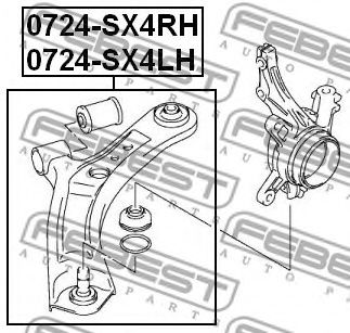 Рычаг независимой подвески колеса, подвеска колеса FEBEST арт. 0724SX4LH