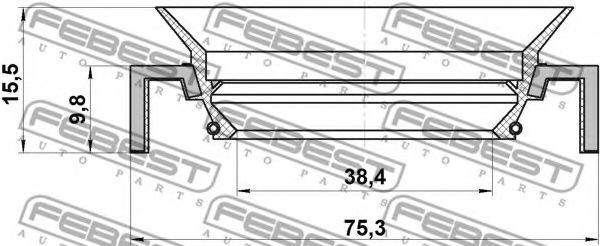 Уплотнительное кольцо вала, приводной вал FEBEST арт. 95HCY40751016C