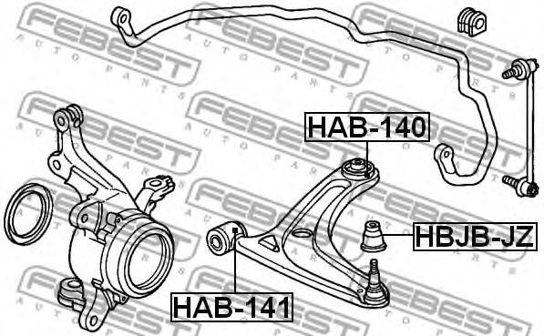 Подвеска, рычаг независимой подвески колеса FEBEST арт. HAB140