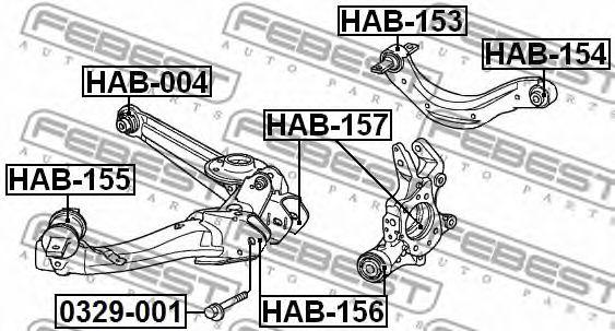 Втулка, рычаг колесной подвески FEBEST арт. HAB156