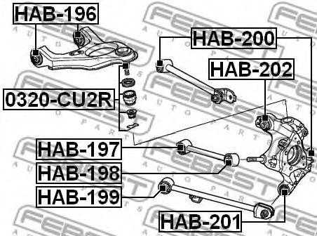 Втулка, рычаг колесной подвески FEBEST арт. HAB201