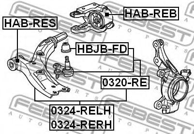 Подвеска, рычаг независимой подвески колеса FEBEST арт. HABREB