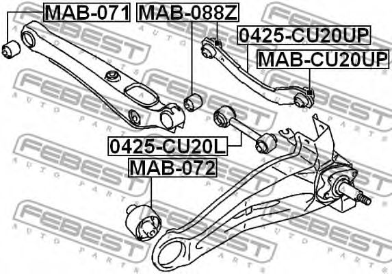 Подвеска, рычаг независимой подвески колеса FEBEST арт. MAB072