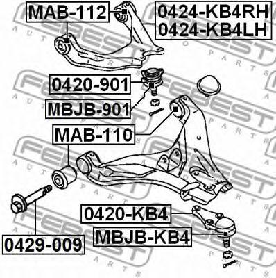 Подвеска, рычаг независимой подвески колеса FEBEST арт. MAB112