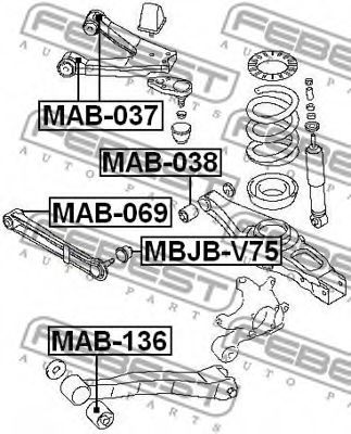 Подвеска, рычаг независимой подвески колеса FEBEST арт. MAB136