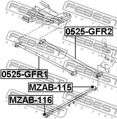 Подвеска, рычаг независимой подвески колеса FEBEST арт. MZAB116