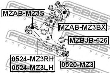 Подвеска, рычаг независимой подвески колеса FEBEST арт. MZABMZ3BX