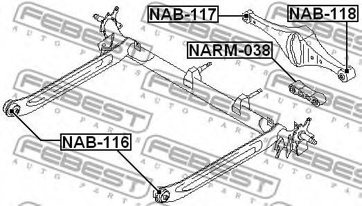 Втулка, балка моста FEBEST арт. NAB116