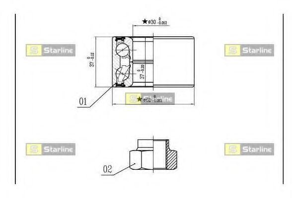 Комплект подшипника ступицы колеса STARLINE арт. LO00559