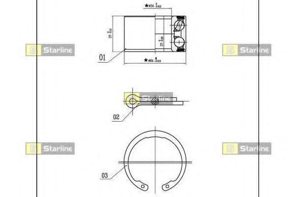 Комплект подшипника ступицы колеса STARLINE арт. LO00663