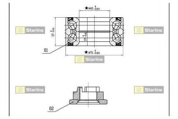 Комплект подшипника ступицы колеса STARLINE арт. LO03575