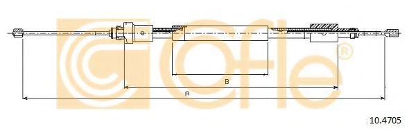 Трос, стояночная тормозная система COFLE арт. 104705