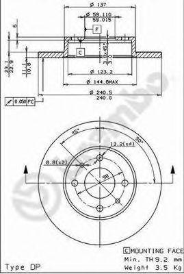 Тормозной диск BREMBO арт. 08508514