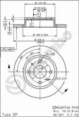 Тормозной диск BREMBO арт. 08521110