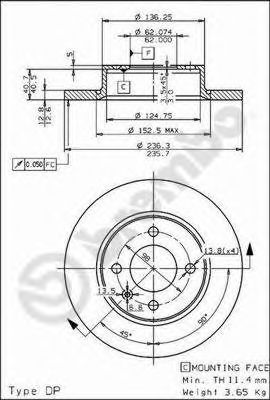 Тормозной диск BREMBO арт. 08524310