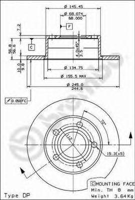 Тормозной диск BREMBO арт. 08574314