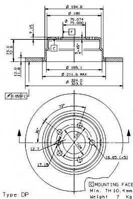 Тормозной диск BREMBO арт. 08701981