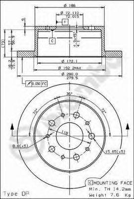 Тормозной диск BREMBO арт. 08809430
