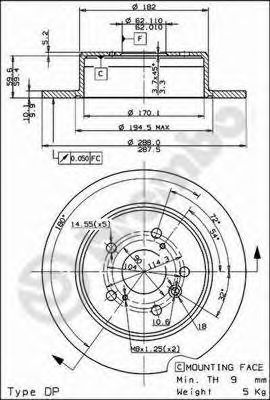 Тормозной диск BREMBO арт. 08917910