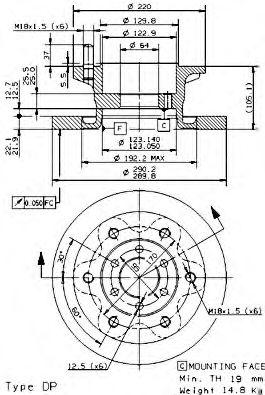 Тормозной диск BREMBO арт. 08945920