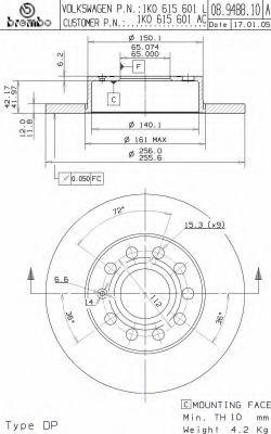 Тормозной диск BREMBO арт. 08948810