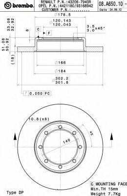 Тормозной диск BREMBO арт. 08A65010