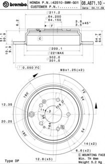 Тормозной диск BREMBO арт. 08A87111